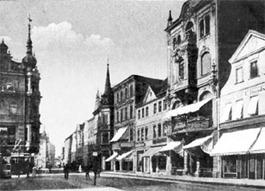 Cottbus. Berliner Straße in Richtung Westen
