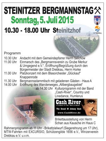 Steinitzer Bergmannstag an diesem Sonntag, 5.7.15