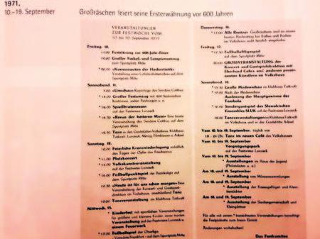 """Unser Leser Wolfgang Mehnert hat sogar ein Festprogramm aus dem Jahr 1971 """"ausgegraben"""". Die Großräschener können sich langsam, aber sicher schon auf ihre 650-Jahrfeier anno 2021 vorbereiten"""