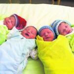 Vier Neujahrsbabys begrüßen das Jahr 2019 im CTK Cottbus