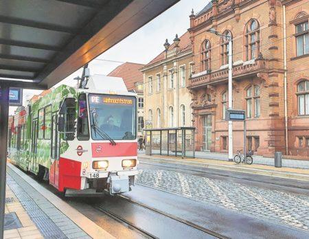 Parkbahner fuhren Weihnachtstram in Cottbus