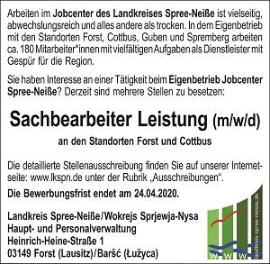 Landkreis Spree-Neiße sucht: Sachbearbeiter Leistung (m/w/d)