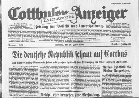 Bilder aus dem alten Cottbus:Das Extrablatt zum 850. Stadtjubiläum